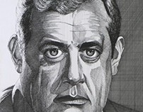 Portrait of Raymond Burr by Kevin Geary in 1972