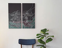 'Undercurrent' Diptych Painting - For Sale