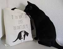"hand painted tote bag ""if you don't like cats..."""