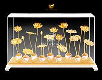 Hồ hoa sen dát vàng (66x16x39cm)