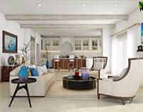 3D Interior Living Kitchen Room Concept