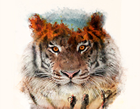 Abstract tiger. Double Exposure.