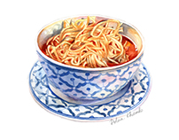 Asian King noodle soup/Food illustration