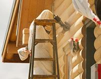 Log Home Finishing - staining, media blasting