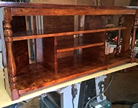 Scottish Yew Stained TV UNIT