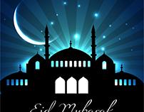 Beautiful eid chand background Vectors