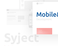 Logo and landing page for Syject App Development