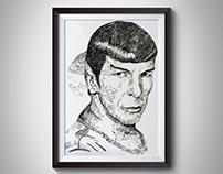 "Leonard Nimoy ""Spock"" Pen & Ink portrait"