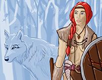 Viking woman and Wolf