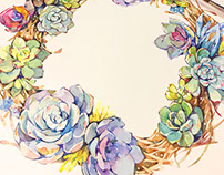 Succulent wreath in watercolor