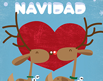 Xmas Reindeers illustration and pattern design