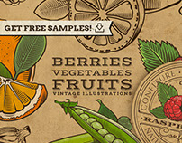 Berries, fruits and vegetables in vintage style
