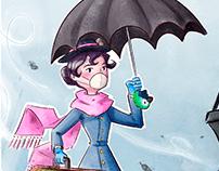 Mary Poppins Children's Book Illustration