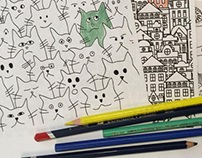 Little coloring book: cats, snails and buildings.