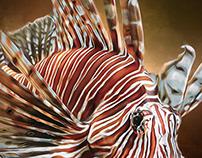 Lion fish Digital Oil Style Painting by Wayne Flint