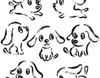 Seven poses of dog