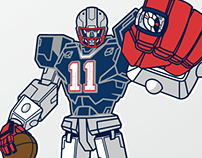 "Julian Edelman ""SUPERTRON"" illustration"