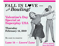 Flyer for Valentine's Day Special at Bowling Alley
