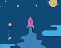 Bird and rocket illustration