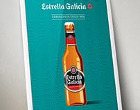 Estrella Galicia bottles illustrations