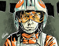 Luke Skywalker X Wing Fighter Portrait