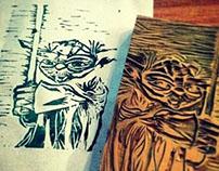 Yoda Linoleum Print