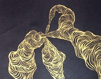 golden lines drawing on black paper