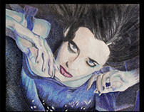 Eva Green Color Pencil Drawing by K. Fairbanks