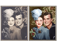 Colorisation of a wedding photograph (1945)