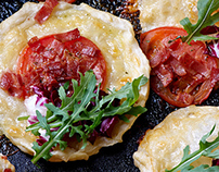 Mozzarella, bacon and tomato tarts