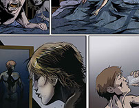 comic page work of inking and color process
