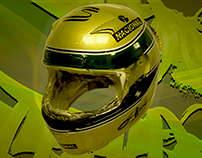 Airbrush and paint helmet racing -Ayrton senna-