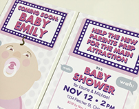 Coming Soon movie marquee style Baby Shower Invitation
