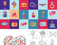 St. Valentine's Day flat icons project