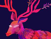 Deer Winter Scene, nighttime in the forest