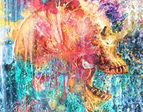 Splatter Skull Dark Abstract Liquid Art