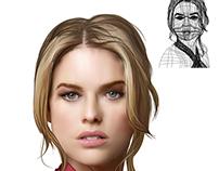 Retrato malla AI / portrait Illustrator mesh tool