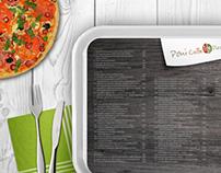 Restaurant menu, buisness card and pizza box
