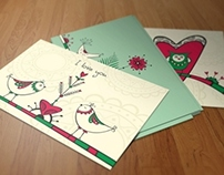 Postcards with ethnic birds