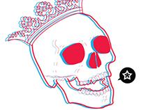 3D skull king illustration