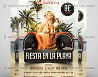 Flyer Fiesta en la playa