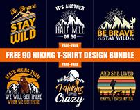 90 Mountain Hiking T-Shirt Design Free Download