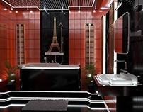 A bathroom in dark tones.