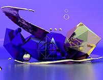 Gold-purple concept in Adobe Dimension