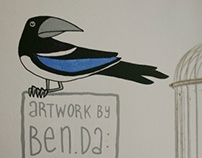 Wallpainting: Magpies