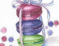 Macaroons/ watercolor/