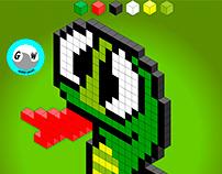Snake pixel art 3D