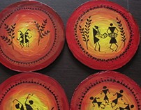Warli art tea coasters