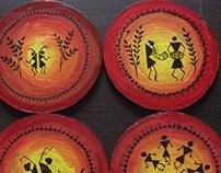 Warli art tea coasters