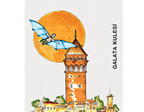 Postage stamp design for towers of Istanbul.